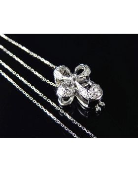 "14K White Gold Genuine Diamond Miniature Butterfly Pendant & Chain 0.5"" (0.10ct)"