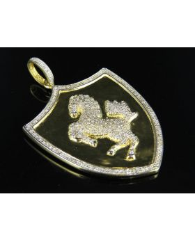 Yellow Gold Finish Real Diamond Ferrari Shield Pendant .75ct