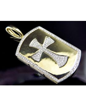 10K Yellow Gold Genuine Diamond Cross Center Dog Tag Pendant (0.50 ct)