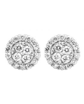 10K White Gold Halo Round Diamond 7MM Stud Earrings 1.0ct.