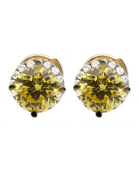 10K Yellow Gold Halo Round Diamond 5MM Solitaire Jacket Stud Earrings 0.33ct.