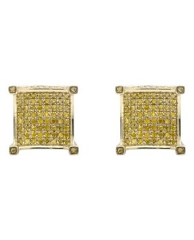 10K Yellow Gold 3D Curved Square Canary Diamond 11MM Stud Earring 1.0ct.