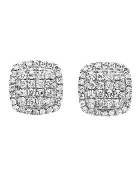 10K Yellow Gold 9MM Square Dome Diamond Stud Earring 1.25ct.