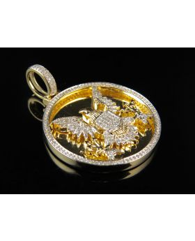 10k Yellow Gold US Great Seal Genuine Diamond Medallion Pendant 0.60Ct 1.5""