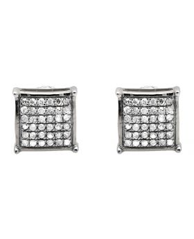 10K White Gold 5MM Square Dome Diamond Stud Earring 0.30ct.