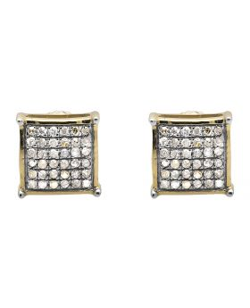 10K Yellow Gold 5MM Square Dome Diamond Stud Earring 0.30ct.