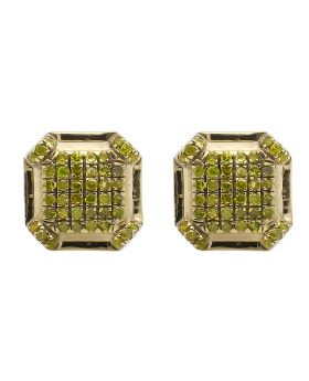 10K Yellow Gold 7MM Octagon Shape Canary Diamond Stud Earring 0.33ct