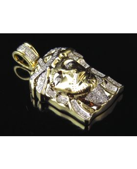 Micro Genuine Diamond 3D Pave Jesus Pendant in Yellow Gold (.33 Ct)