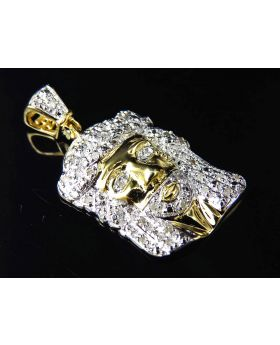 Genuine Pave Diamond Mini Jesus Piece Pendant In Yellow Gold Finish (0.25ct) 1.0""