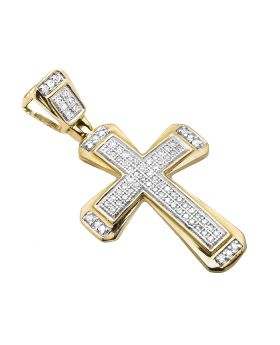 10K Yellow Gold Designer Cross 3/4 Inch Charm Pendant 0.30ct.