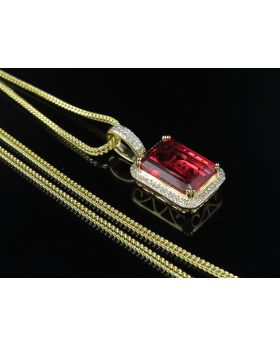 "10K Yellow Gold Royal Red Ruby Real Diamond Pendant 1.05"" 0.33Ct Chain Set"