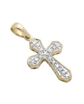 14K Yellow Gold One Row Cross Diamond  Pendant Charm 0.15ctw
