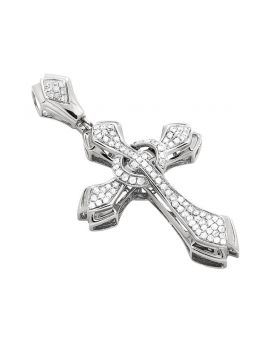 14K White Gold Solitaire Genuine Diamond Cross Pendant 1Ct