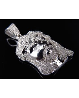 Genuine Diamond Micro Jesus Pendant in White Gold Finish (.65 Ct)
