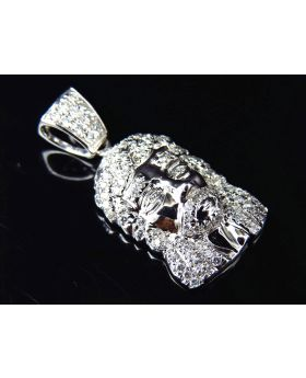 10K White Gold Genuine Diamond Micro Pave Jesus Piece Pendant (0.75ct) 1.0""