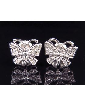 Genuine Diamond Butterfly Shape Earring in White Gold Finish