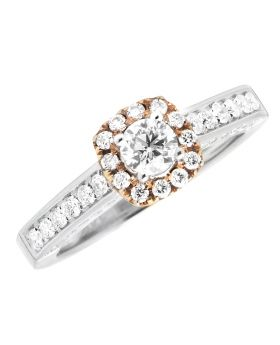 14K Two-Tone Gold Halo Solitaire Diamond Engagement Wedding Ring 1.0ct