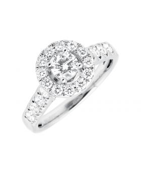 14K White Gold Halo 0.40ct Solitaire Diamond Engagement Wedding Ring 1.0ctw