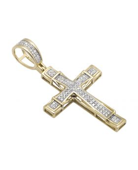 "10K Yellow Gold Weave Cross Pave Diamond 1.25"" Pendant Charm 0.40ct"