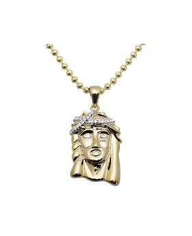 "10K Yellow Gold 0.75"" Jesus Face 0.25ct. Diamond Pendant + 24 Inch Chain"