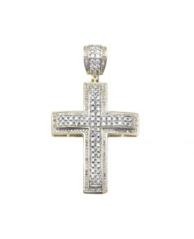"10K Yellow Gold 3D Puff Diamond Cross Charm Pendant 1.5"" 2.2ct"