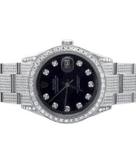 Mens Rolex Date Just Full Diamond Oyster Perpetual Watch (7.5 ct)