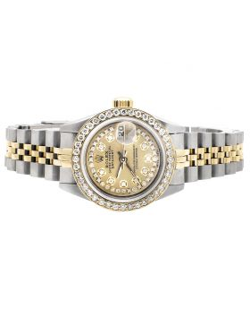 Rolex  Steel/18k Ladies 2 Tone Datejust with 3.0 Ct Diamonds