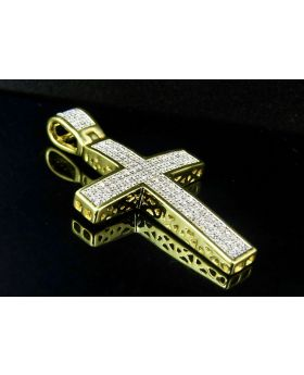"""Sterling Silver Yellow Gold Finish Real Diamond Dome Cross Pendant 1.6"""" 0.50ct"""