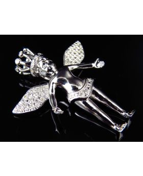 Genuine Diamond King Angel Pendant in White Gold Finish (0.25Ct)