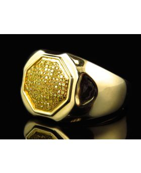 Pave Set Genuine Canary Diamond Ring in 10k Yellow Gold (.35 Ct)