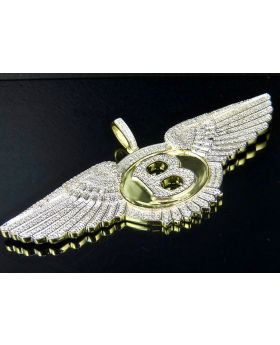 Sterling Silver Yellow Gold Finish Real Diamonds Bentley Flying B Pendant 3.5""