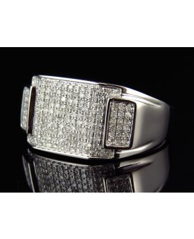 Genuine Diamond Panoramic Ring in 10k White Gold 22MM (.49Ct)