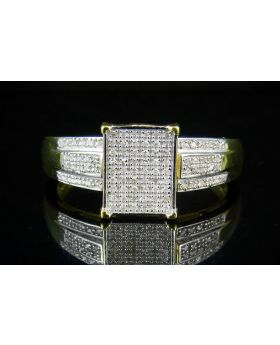 Ladies Yellow Gold Finish Real Diamond Square Ring .50ct