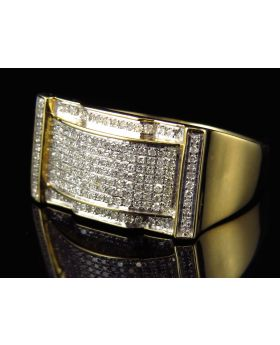 Genuine Diamond Linear Ring in 10k Yellow Gold 22MM (.50Ct)