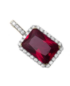 "10K Yellow Gold Royal Ruby Gemstone 1.5"" Diamond Pendant Charm 3.0ct"
