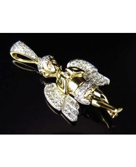 "10K Yellow Gold Genuine Diamond Solitaire Ascending Angel Pendant 1.5"" (0.75ct)"