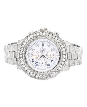 Custom Breitling A13370 Super Avenger Fully Iced S.Steel with Diamonds (20 Ct)