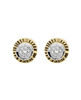 Yellow Gold Finish 6MM Starburst Frame Diamond Stud Earring 0.10ct.