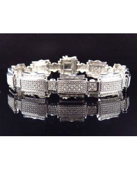 Genuine Diamond Puzzle Link Style Bracelet In White Gold Finish 14MM (1.25Ct)