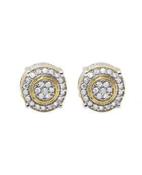10K Yellow Gold 9MM 3D Flower Halo Frame Diamond Stud Earring 0.75ct.
