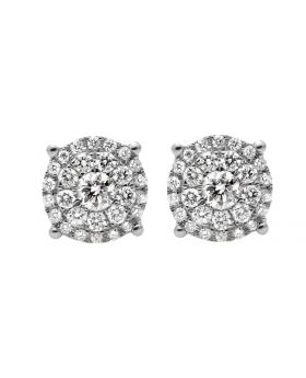10K White Gold Solitaire Accent 8MM Halo Flower Diamond Stud Earring 1.0ct.