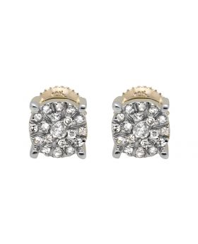 10K Yellow Gold Solitaire Accent 6MM Halo Flower Diamond Stud Earring 1/2ct.