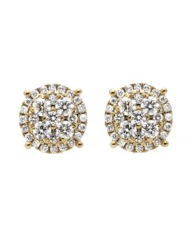 14K Yellow Gold 9MM Halo Flower-Shaped Quad Diamond Stud Earring 2.0ct.