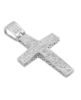 "White Gold Finish 3 Rows Dome Cross 1.5"" Pave Diamond Pendant Charm 0.50ct."