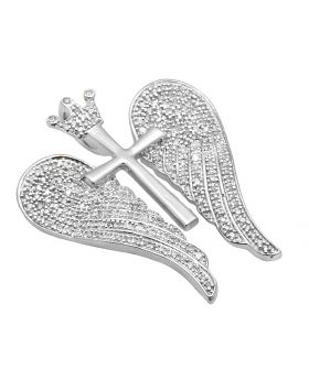 White Gold Finish Royal Cross Open Angel Wings 1.5 Inch Diamond Pendant 1/2ct