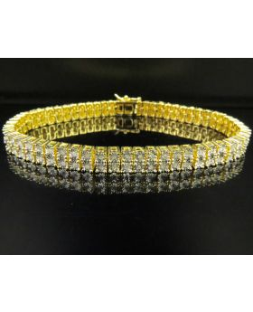Yellow Gold Finish 2 Row Real Diamond Bracelet 1/2 CT 8""