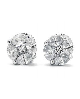 Princess Cut Diamond Round Studs in 14K White Gold (1.35 ct)