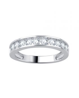 10K White Gold Channel Set Round Cut Diamond Ring 1.0CT