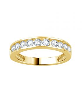 10K Yellow Gold Channel Set Round Cut Diamond Ring 1.0CT