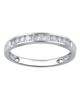 10K White Gold Channel Set Round Cut Diamond Ring 0.25CT